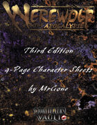 MrGone's Werewolf The Apocalypse Third Edition 4-Page Character Sheets