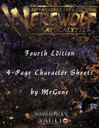 MrGone's Werewolf The Apocalypse Fourth Edition 4-Page Character Sheets