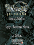MrGone's Wraith The Oblivion Second Edition 4-Page Character Sheets