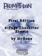 MrGone's Promethean The Created First Edition 4-Page Character Sheets