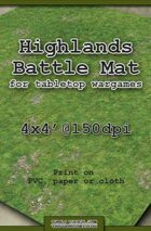 Wargames Battle Mat 4'x4' - Highlands (011b)