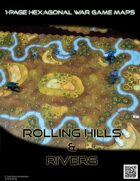 1 Page Hexagonal War Game Maps - Rolling Hills & Rivers