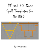 15' and 30' Cone Spell Templates for 5e D&D