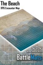 """The Beach 24"""" x 24"""" RPG Encounter Map"""