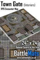 "Town Gate Interiors 24"" x 24"" RPG Encounter Map"