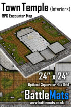 """Town Temple Interiors 24"""" x 24"""" RPG Encounter Map"""