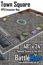 """Town Square 48"""" x 24"""" RPG Encounter Map"""