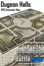 "Dungeon Halls 48"" x 24"" RPG Encounter Map"
