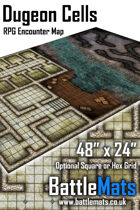 "Dungeon Cells 48"" x 24"" RPG Encounter Map"