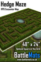 "Hedge Maze 48"" x 24"" RPG Encounter Map"