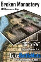 "Broken Monastery 36"" x 24"" RPG Encounter Map"