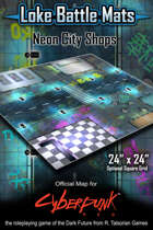 "Neon City Shops 24"" x 24"" RPG Encounter Map"