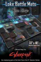 "Neon Alleys 32"" x 18"" RPG Encounter Map"