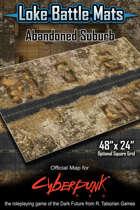 "Abandoned Suburb 48"" x 24"" Cyberpunk RED Battle Map"