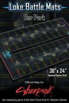 """Car Park 36"""" x 24"""" Cyberpunk RED Battle Map"""
