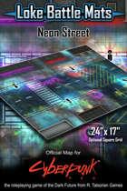 "Neon Street 24"" x 17"" Cyberpunk RED Battle Map"