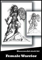 BlaszczecArt Stock Art: Female Warrior B&W