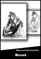 BlaszczecArt Stock Art: Beast 1 B&W