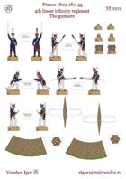 Artillery crew 4-th linear regiment. France 1809-1811 year