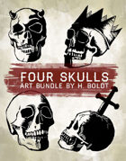 4 Skulls Stock Art Bundle