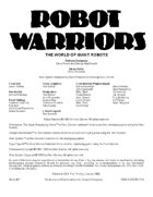 Robot Warriors (3rd Edition)