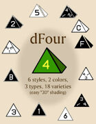dFour polyhedral dice fonts