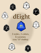 dEight polyhedral dice fonts