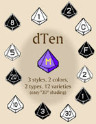 dTen polyhedral dice fonts