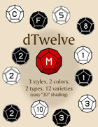dTwelve polyhedral dice fonts