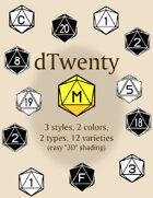 dTwenty polyhedral dice fonts
