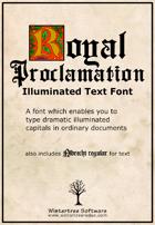 Royal Proclamation illuminated font