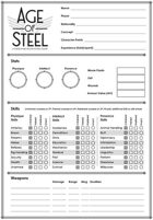 Age of Steel character sheets