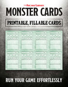 Combat Cards: Fillable Monster Cards (5E)