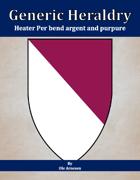 Generic Heraldry: Heater Per bend argent and purpure