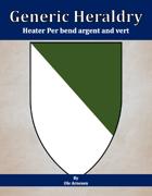 Generic Heraldry: Heater Per bend argent and vert