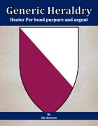 Generic Heraldry: Heater Per bend purpure and argent