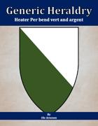 Generic Heraldry: Heater Per bend vert and argent