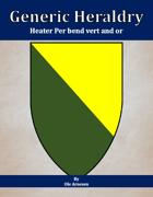 Generic Heraldry: Heater Per bend vert and or