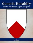 Generic Heraldry: Heater Per chevron argent and gules