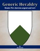 Generic Heraldry: Heater Per chevron argent and vert