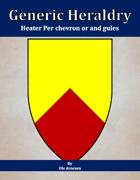 Generic Heraldry: Heater Per chevron or and gules