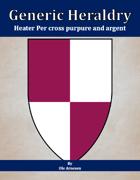 Generic Heraldry: Heater Per cross purpure and argent