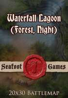 Seafoot Games - Waterfall Lagoon (Forest, Night) | 20x30 Battlemap