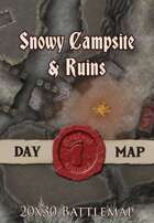 Seafoot Games - Snowy Campsite & Ruins | 20x30 Battlemap