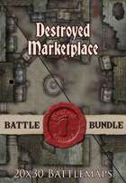 Seafoot Games - Destroyed Marketplace | 20x30 Battlemap [BUNDLE]