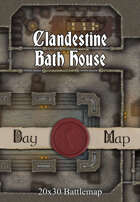Seafoot Games - Clandestine Bath House  | 20x30 Battlemap