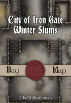 Seafoot Games - City of Iron Gate Winter Slums | 20x30 Battlemap