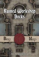 30x20 Battlemap - Ruined Workshop Docks