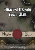 30x20 Battlemap - Attacked Moonlit Town Wall