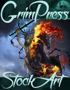 Standard Fantasy Stock Art - Hag on Flaming Steed